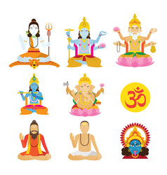 god hinduism and priest set vector image