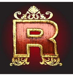 Gold and Red Wood Figure vector image