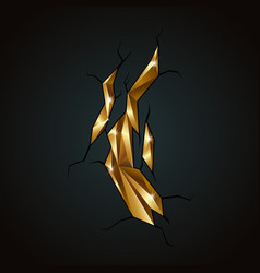Golden abstract polygonal mineral vector