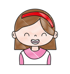 Grated smile girl with hairstyle and headband vector