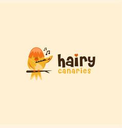 hairy canary logo canary cartoon mascot vector image
