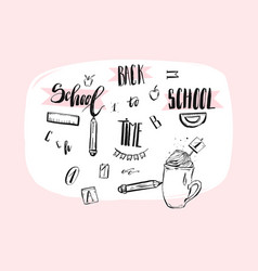 Hand drawn abstract school theme doodle vector