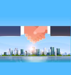 hand shake icon business handshake partnership vector image