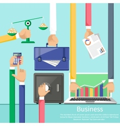Hands with various business elements vector