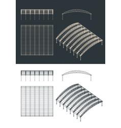 Hangar drawings vector
