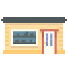 House with black roof shop dwelling on white vector