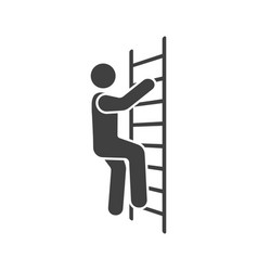 Icon of a man climbing the stairs vector