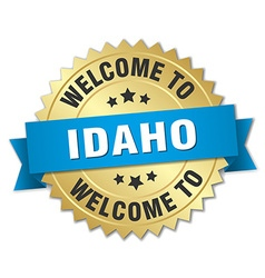 Idaho 3d gold badge with blue ribbon vector