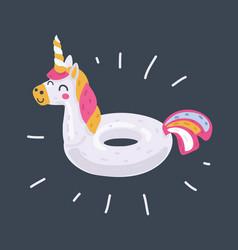 inflatable unicorn on dark vector image