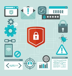 internet and information security concept in flat vector image