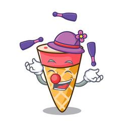 Juggling ice cream tone mascot cartoon vector