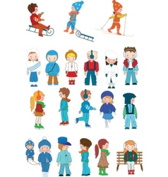 kids cartoon set vector image