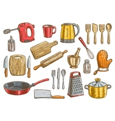 Kitchenware utensil and appliances elements vector