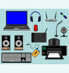 Laptop and peripheral equipment vector