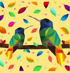 low poly colorful hummingbird with falling leaves vector image