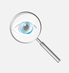 Magnifying glass icon with eye vector