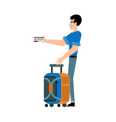male tourist in casual clothes with carry-on vector image