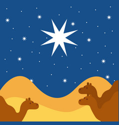 Merry christmas camels night landscape vector