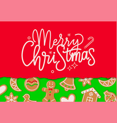 merry christmas greeting with gingerbread vector image