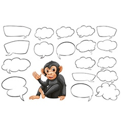 Monkey and different types of bubble speeches vector