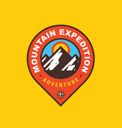 mountain expedition badge design adventure travel vector image