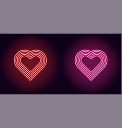 Neon heart in red and pink color vector