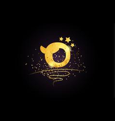 O letter alphabet icon design with golden star vector