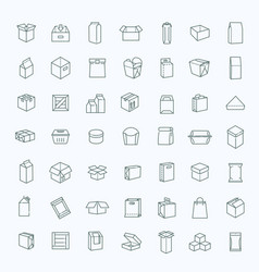 Package types icon set in thin line style vector