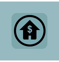 Pale blue dollar house sign vector