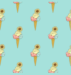 Pattern of ice cream cones on a turquoise vector