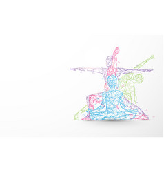 person yoga exercise poses form lines and particle vector image