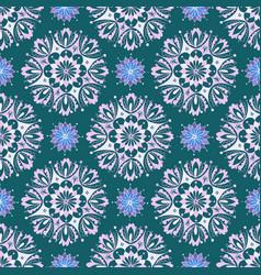 pinkish mandala floral pattern on green background vector image
