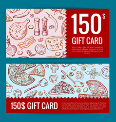 Pizza restaurant or shop giftcard or vector