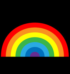 rainbow icon cartoon isolated black background vector image