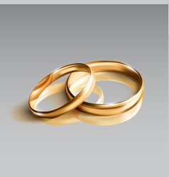 realistic glossy golden rings isolated on gray vector image