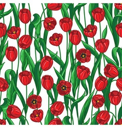 red tulip pattern vector image