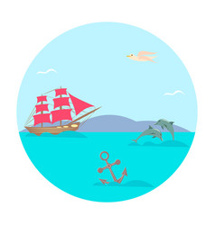 Scarlet sails in the sea vector