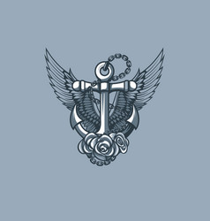 sea anchor with wings and roses vector image