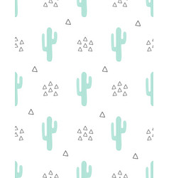 seamless cactus pattern isolated on white vector image