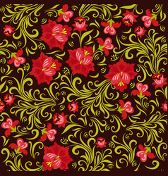 seamless pattern with flowers in russian style vector image