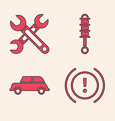 Set brake system warning wrench shock absorber vector