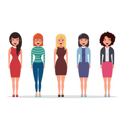 Set of diverse business characters businesswomen vector