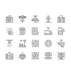 set smart city line icons clean town space vector image