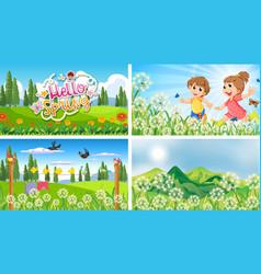 Set spring background vector