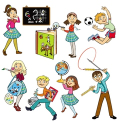 Set with school children vector