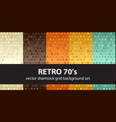 shamrock pattern set retro 70s seamless vector image