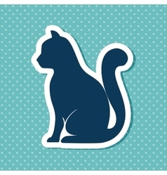 silhouette cat sit dot background vector image