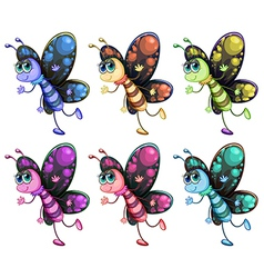 Six colorful butterflies vector image