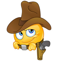 smiling cowboy emoticon vector image