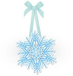 Snowflake on ribbon vector image